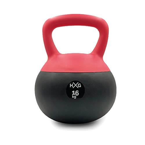JOWY Pesa Rusa 16kg Ideal para Entranamiento Musculación | Kettlebell 16kg Revestimiento de Vinilo Roja