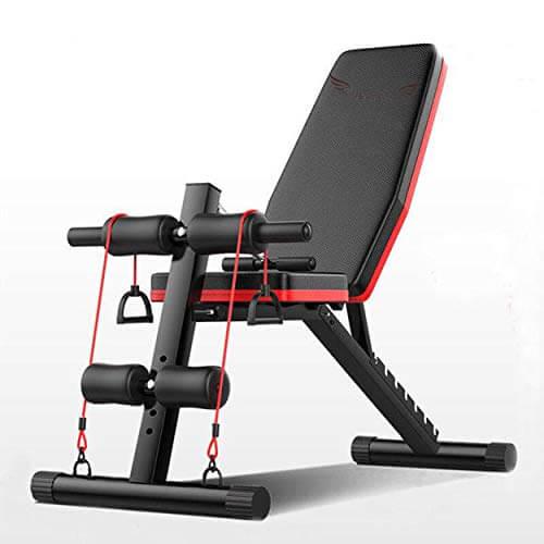 Acobonline Banco de Pesas Ajustable para Fitness,Banco de Musculación Multifunción para Entrenamiento de Cuerpo Entero, Respaldo abatible, diseño Compacto, Antideslizante. (Modelo A)