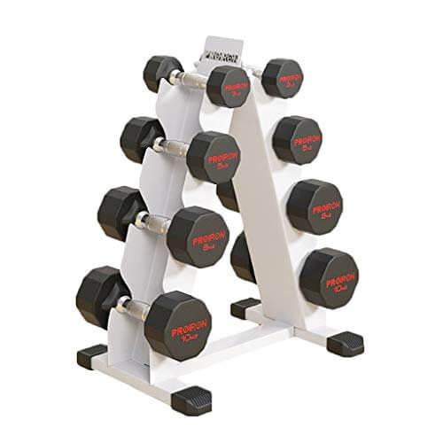 Mancuerna mancuerna Set mancuerna Rack Home Fitness Equipo Conjunto 10kg mancuerna Total de Ocho mancuerna mancuerna Soporte Combinado LCD (Color : Blanco, Size : 48 * 36 * 79cm)
