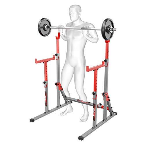 Bodybuilding - Soporte ajustable para sentadillas y barras de levantamiento de pesas, con marco de banco