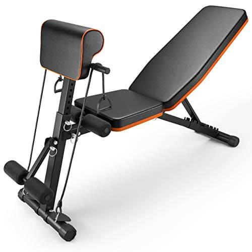 PERLECARE banco de musculacion, duradero banco de gimnasio, peso de hasta 350 kg, de hasta 350 kg, ejercicio plegable con 7 posiciones trasera, 7 alturas, dos banda de ejercicio para gimnasio en casa