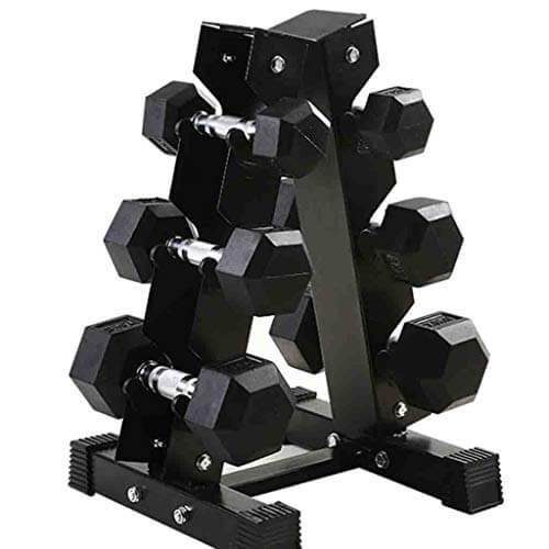 DXIUMZHP Mancuernas Mancuernas De Goma Cubiertas De Hexágono para Adultos Juego Completo De Pesas En El Gimnasio Comercial Estante con Mancuernas Entrenamiento Muscular (Color : Black-30kg)