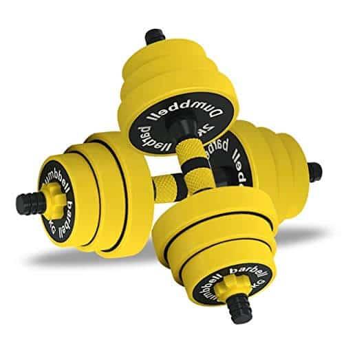 DJ Home 10 kg, 15 kg / 20 kg Pesas Barra Combinación Desmontable con 4 Collares y 2 Opciones de Conectores for los Pares de Gimnasio en casa Entrenamiento de Culturismo de Goma con Mancuernas