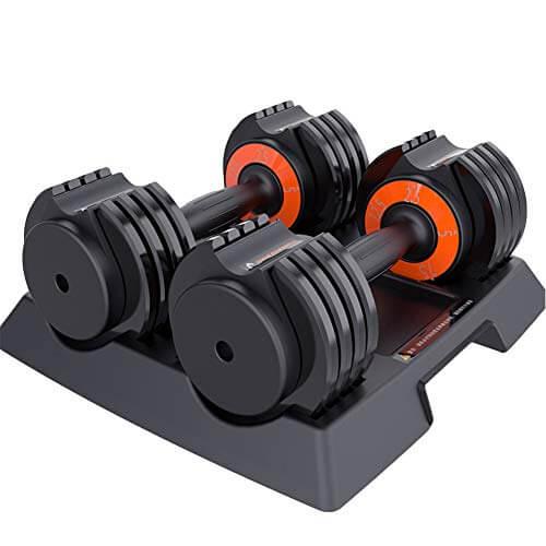 Set de Mancuernas Profesional hasta 50KG - Pesa de Gimnasia Desmontable Ajustable en Peso con Base ABS Equipo de Gimnasio en Casa para Ejercicio Formación Gimnasio,25lb(2x5.6kg)