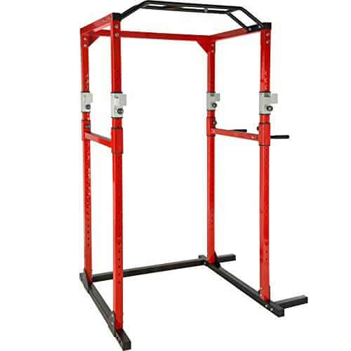 TecTake Multiestación de Fitness para Entrenamiento | 2 puntales de Seguridad macizos | Barras de dips acoplables Modelos (Rojo Negro | No. 402739)