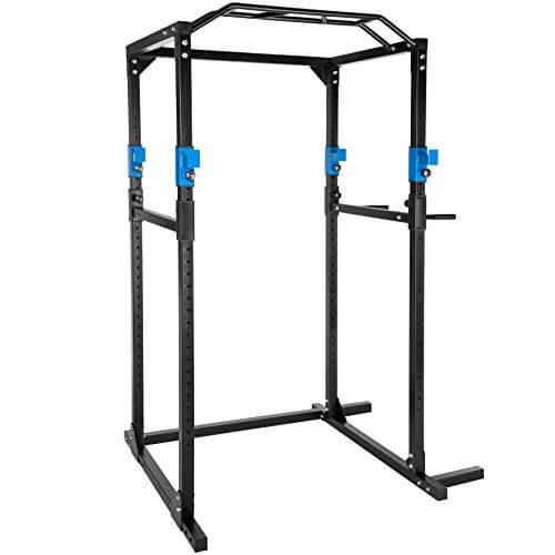 TecTake Multiestación de Fitness para Entrenamiento   2 puntales de Seguridad macizos   Poleas para Barras de Flexiones Inferiores y Superiores Modelos (Azul Negro   No. 402737)