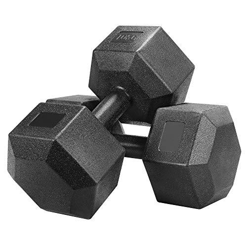 Yaheetech Un Set de 2 Piezas Mancuernas de Ejercicio Mancuerna para Gimnasio Fitness Negra 10 KG