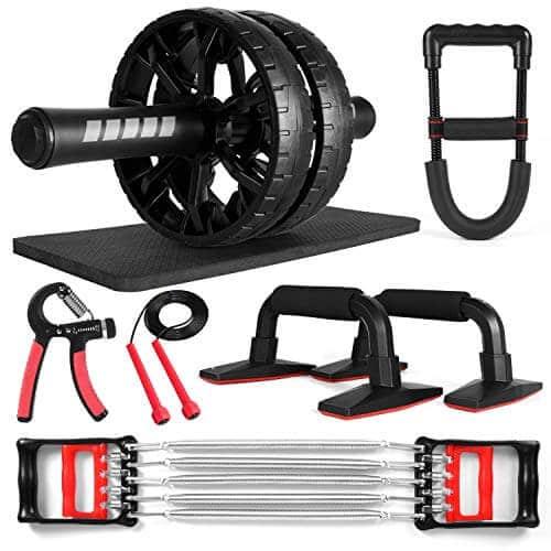 Odoland AB Roller Abdominales Set incl. AB Wheel Roller con Almohadilla Manijas para Fexibles Cuerda Saltar Pinzas para Mano Ejercitador de Resistencia Ejercicio Blaster de Antebrazo