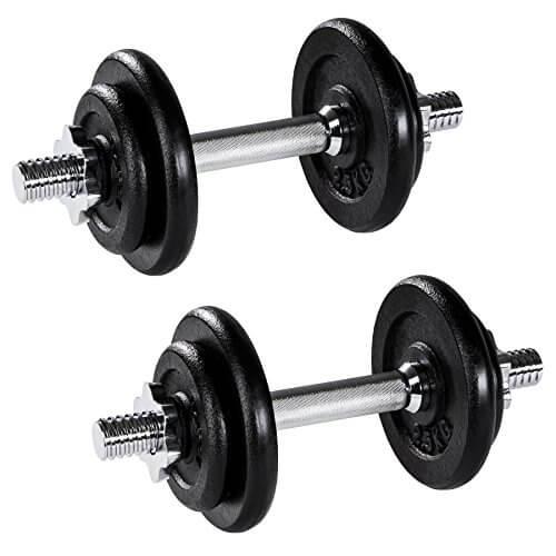 TecTake Set Mancuernas con Pesas Halteras Fitness Acero Hierro Musculación Gimnasio - Varios Modelos - (2X 10kg | No. 402368)