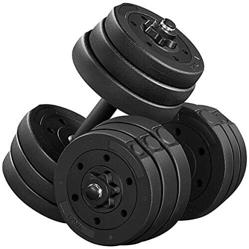 Yaheetech Juego de Mancuernas 20kg con Pesas Barra y Discos Ajustable para Casa o Gimnasio Fitness