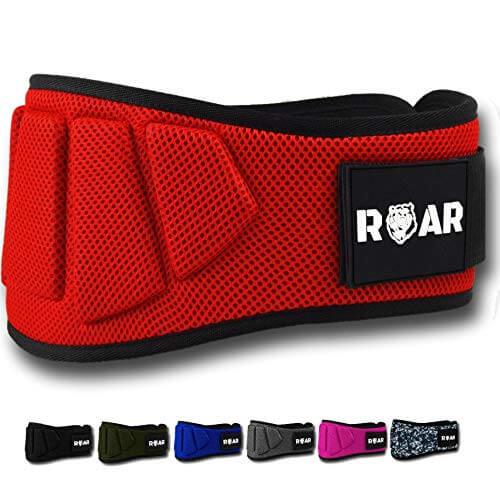 Roar® Cinturón musculación para Entrenamiento de Levantamiento de Peso Crossfit Powerlifting Halterofilia Pesas Gimnasio (Rojo, XS)
