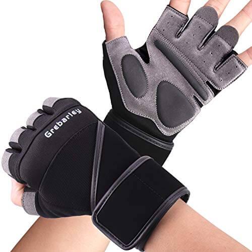 Grebarley Fitness Gloves Levantamiento de Pesas, protección Total de la Palma, Transpirable, Guantes de Entrenamiento para Hombres y Mujeres (Negro, M)