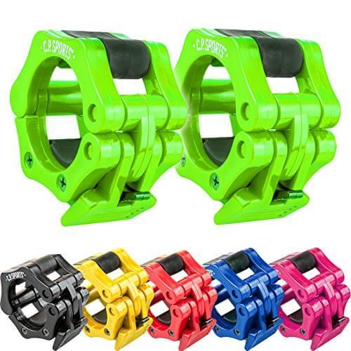 C.P. Sports - Cierre rápido para mancuernas, 30 mm, práctico cierre de mancuernas con una sola mano para un entrenamiento seguro y cambio rápido de discos, pinza de plástico resistente, color verde