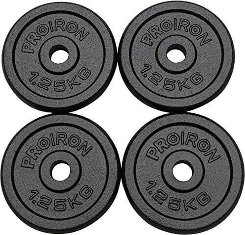 PROIRON Discos de Pesas de Disco 4 x 1,25kg o 2 x 5 kg de Hierro Fundido
